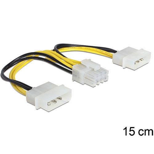 Delock Kabel Stromversorgung 8 Pin EPS > 2 x 4 Pin Molex 15cm ...